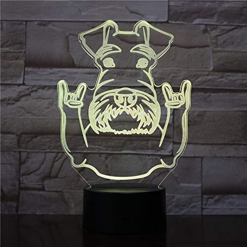 Schnauzer Perro Raza Retrato Noche luz Schnauzer Animal con Gesto de Roca decoración Color cambiante lámpara de Mesa Moderna