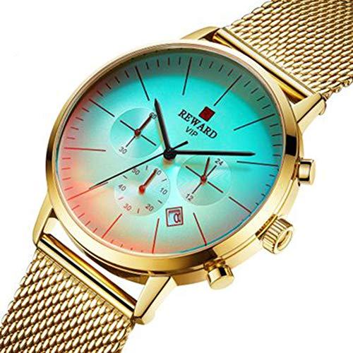 LIAO Herren-Uhr, Uhren für Mann, tägliche Wasserdicht, Edelstahlgewebe, für Business & Freizeit & Sport,B