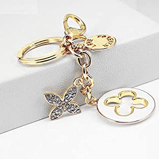 Axmerdal Charms Lucky Four Leaf Clover KeyChain Women Key Ring Gold Plated Crystal Elements Car Bag Purse Pendant Gift