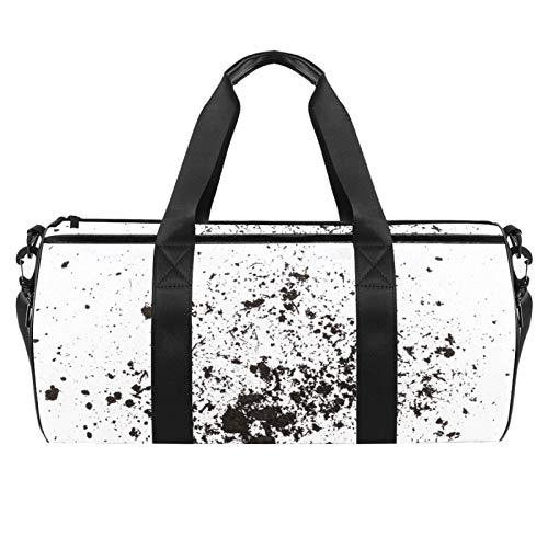 KAIXINJIUHAO Bolsa de deporte de 45,72 cm, bolsa de viaje de color blanco y negro