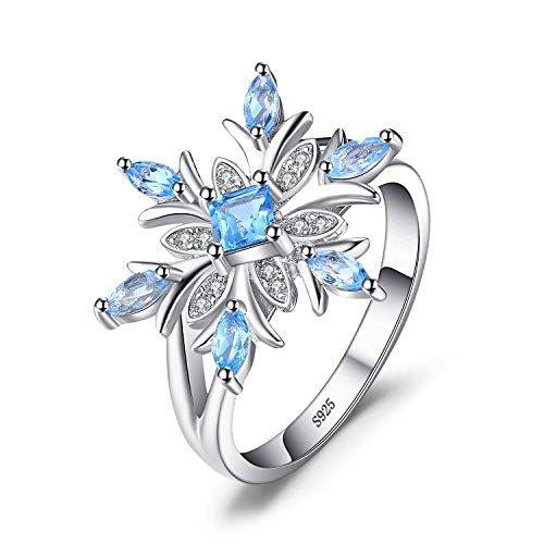 JewelryPalace Copo de nieve de las mujeres genuino topacio azul suizo anillo sólido Plata de...