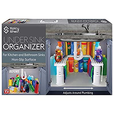 Expandable Under Sink Organizer and Storage | Bathroom Under the Sink Organizer Kitchen Under Sink Shelf | Cleaning Supplies Organizer Under Sink Storage | EXPANDABLE HEIGHT DEPTH & WIDTH by