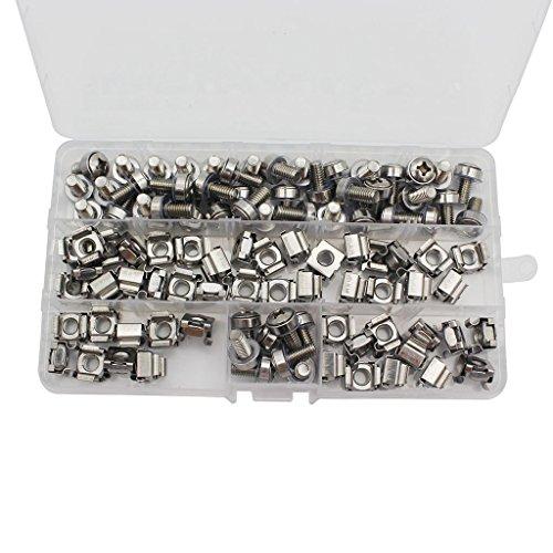Raogoodcx 50X Cage écrous M6/Quincaillerie à trou carré Écrous de cage et vis de montage Rondelles pour rack de serveur et armoire (M6 X 16 mm) (vis + rondelle + écrou cage)