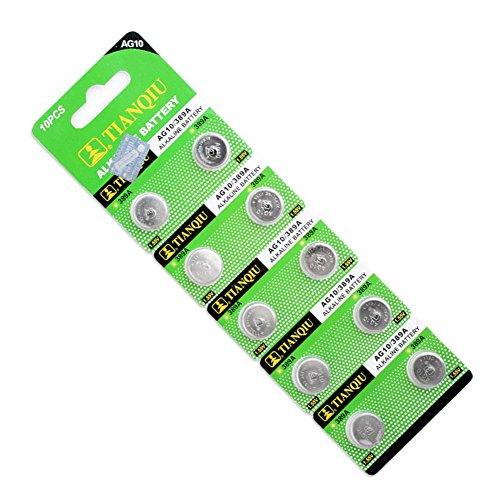 10 Pcs AG10 G10A SR1130 LR1130 390A D189,189, 189-1, 389A, 390A, AG10, D189, G10, G10A, SR1130, GP89A, LR54 Alkaline Battery Button Coin Cells