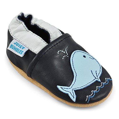 Juicy Bumbles - Weicher Leder Lauflernschuhe Krabbelschuhe Babyhausschuhe mit Wildledersohlen. Junge Mädchen Kleinkind- Gr. 12-18 Monate (Größe 22/23)- Blauwal