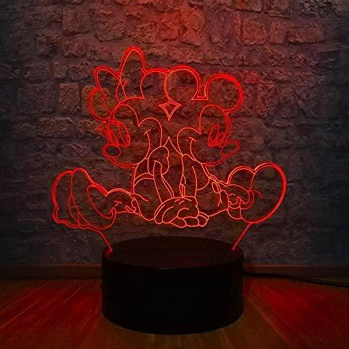 3D Lampe Cartoon Maus Freunde Led Nachtlicht 7 Farbwechsel Usb-Basisschalter Weihnachten Dekorative Kinderspielzeug Geschenk
