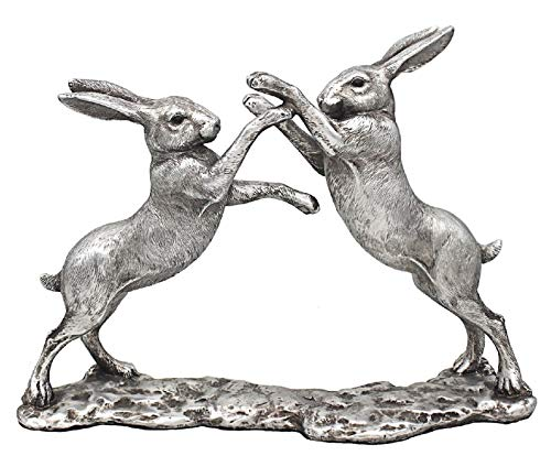 28cm silver hares boxing ornament figurine detailed pewter effect