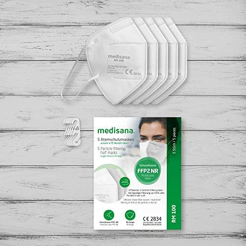 Medisana FFP2/KN95 5x Atemschutzmasken Staubmaske RM 100 Atemmaske 3-lagige Staubschutzmaske Mundschutzmaske einzelverpackt im PE-Beutel zertifiziert CE2834 - EU 2016/425 - 5