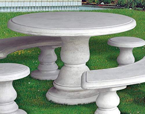 pompidu-living Steintisch MANIVA - Runder Steintisch für den Garten, echter witterungsbeständiger Steinguss, Wetterfeste Gartenmöbel Tisch, weiß, Ø 120, H75cm