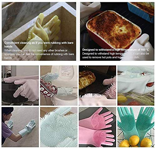Product Image 5: MITALOO Magic Dishwashing Cleaning Sponge Gloves Reusable Silicone Brush Scrubber Gloves Heat Resistant for Dishwashing Kitchen Bathroom Cleaning Pet Hair Care Car Washing(Green)