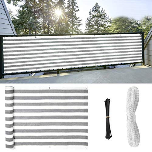 SuperThinker Balcony Privacy Screen Cover, 3.5ft x8.5ft Fence Windscreen for Porch Deck, Outdoor, Backyard, Patio, Balcony to Cover Sun Shade, UV-Proof, Weather-Resistant, Includes Rope and Cable Ties