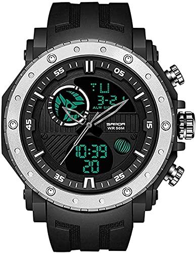Hombres de Estilo al Aire Libre Reloj Digital de Choque de Alta Marca de Lujo Relojes Deportivos Militares Moda Impermeable Reloj de Pulsera electrónica for Hombre (Color: Blacksilver)