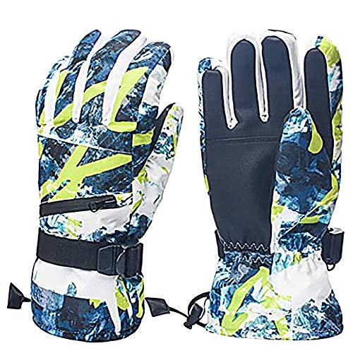 Ski Gloves, Thermal Gloves for Winter, Coldproof Ski Gloves Waterproof Cycling Gloves Winter Gloves Snow Snowboard Gloves for Outdoor Sports (L, Blue)