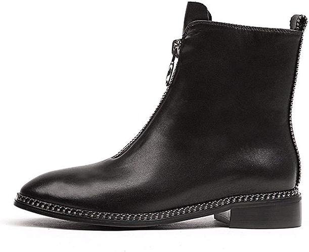 HBDLH Chaussures pour Femmes Faible Talon Bottes La Hauteur du Talon 2Cm Cuir Tête Ronde Zipper Bottes Chaussures à Fond Plat Martin
