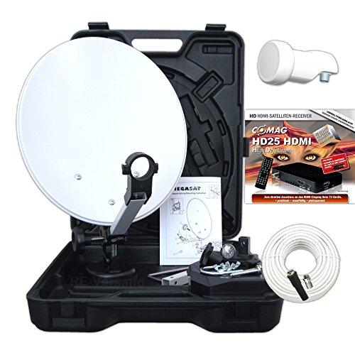 Camping Koffer HDTV Sat-Anlage digital 12V/230V inkl. COMAG HD25 HDMI Receiver, Saugfuß, Megasat HD-Profi Universal-Single-LNB mit 0,1dB (typ), Anschluss Set