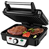 Aigostar Calore 30HHK - Multifunction grill: plancha for meat and vegetables, panini press and 1800W sandwiches with non-stick plates, adjustable intensity, and 180º opening.