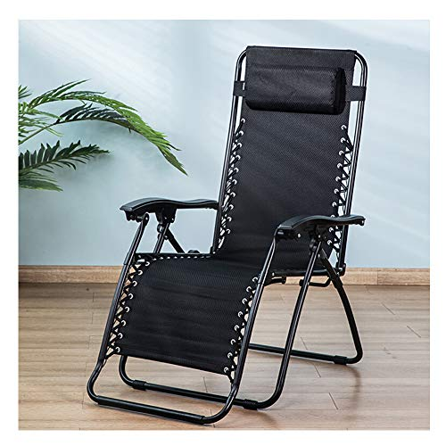 Adjustable Reclining Folding Foldable Deck Chair, Single balcony outdoor lunch break chair Office Home Portable Back Chair Beach Chair
