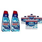 Finish All In 1 Max Power Gel Brillo & Protección Detergente Gel Para El Lavavajilla, 2 Unidades 100 Lavados + Limpiamáquinas Líquido Para Lavavajillas Contra Cal, Grasa Y Mal Olor 4 Unidades