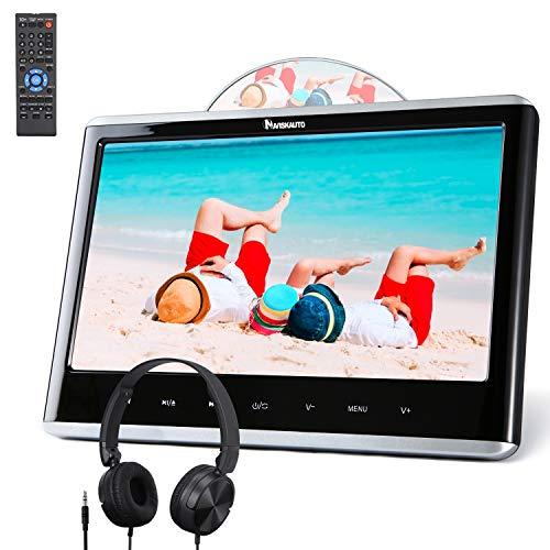 NAVISKAUTO 12 Pouce Lecteur DVD pour Enfant Voiture Ecran d'appui tête avec Ecouteur et Cable AV Inhalation Design Soutient Dernière mémoire Région Libre USB SD