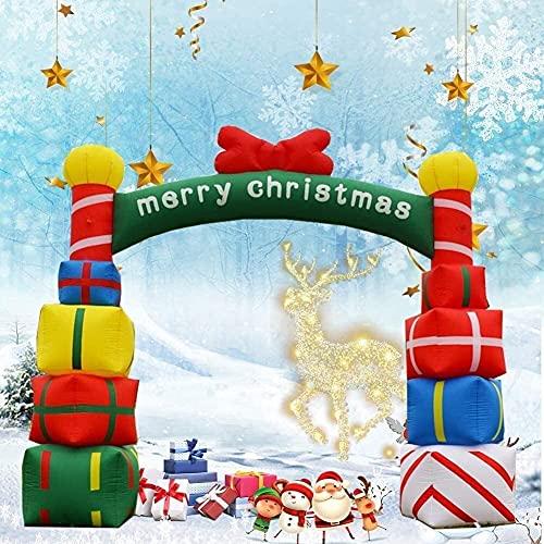 wsbdking Arco inflable de signo de Navidad gigante, 1 8 PIES Arcada inflable de la caja de regalo de color apilable de la Navidad con la decoración roja de la arquea de la Navidad para el acorazamient