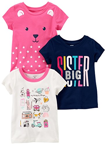 Carter's Baby Girls' 3-Pack Short-Sleeve T-Shirts, White/Navy Sister/Pink Bear, 3 Months