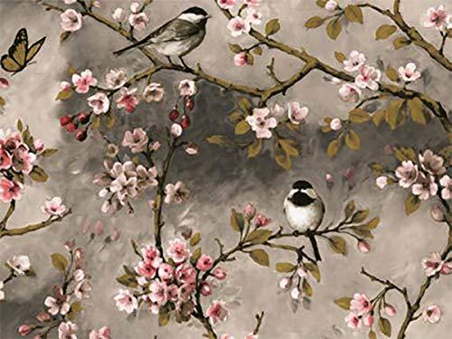 Mambo-Design PVC Tischdecke Vogel Grau Wachstuch · Eckig · Länge & Breite wählbar · abwaschbare Tischdecke · Kirschblüten Rosa Japan Meise, Größe:130 x 90 cm