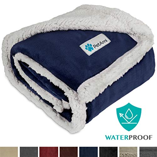 PetAmi Waterproof Dog Blanket for Medium Dogs, Puppies, Small Cats | Soft Sherpa Fleece Pet Blanket Throw for Sofa, Couch | Thick Durable Pet Bed Cover Floor Mat 30 x 40 inches (Blue)