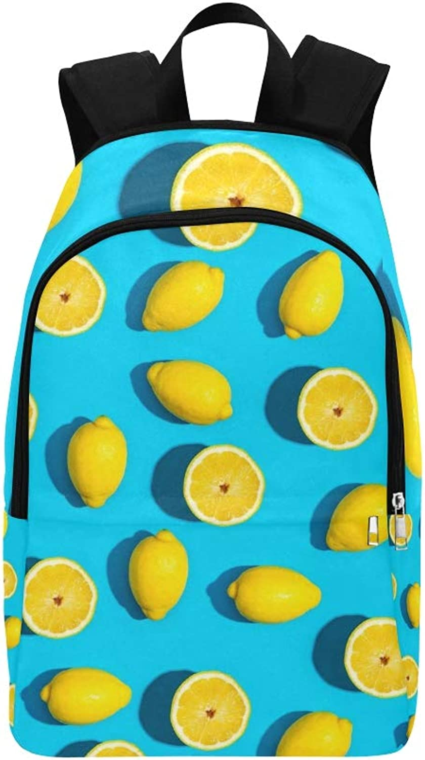 Fresh Lemon On Vivid blueee Casual Daypack Travel Bag College School Backpack for Mens and Women