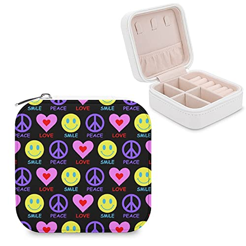 Portagioie con scritta 'Peace Love Smile', per anelli, orecchini, collane, piccoli gioielli, regalo per donne, ragazze, mogli, madri, fidanzate