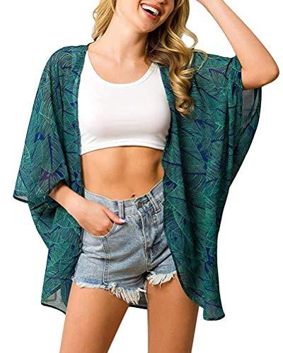 ORANDESIGNE Chaqueta de Punto con Estampado de Kimono de Playa de Manga Corta para Mujer Chal Flores Ropa de Playa Gasa Bohemia Boho Bikini de Verano Cover Up Estilo 2 42