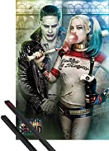 1art1 Poster + Hanger: Suicide Squad Poster (36x24 inches) Joker and Harley Quinn and 1 Set of Black Poster Hangers
