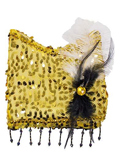 Charleston - Bolso de mano para disfraz de los años 20, 30 o fiesta temática. dorado 18 x 20 cm