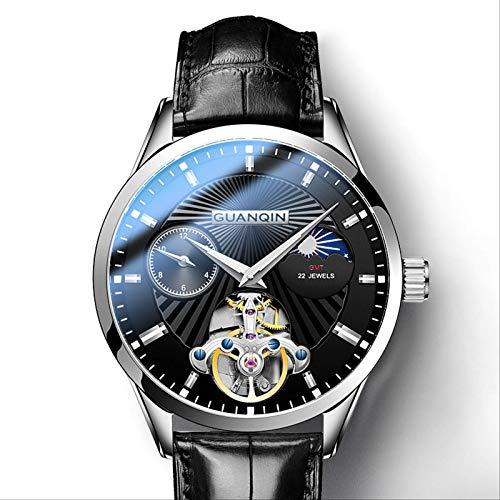 Mira El Reloj Mecánico De Los Hombres Impermeable Moda Tendencia Dominante Marca-Marca Totalmente Automática Fly-Wheel Reloj Hueco Reloj Hueco