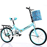 QINYUP 20 Inch Folding Bicycle Women'S Light Work Adult Adult Ultra Light Variable Speed Portable Adult Small Student Male Bicycle Folding Carrier Bicycle Bike,Blue