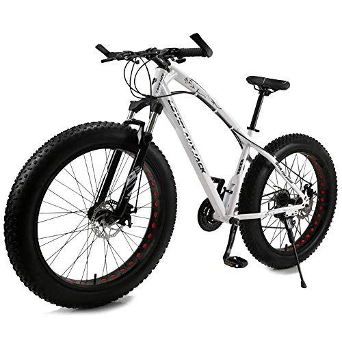 26-Zoll-7-Speed / 21-Gang-Doppelscheibenbremse Breitreifen Off-Road Variable Speed-Fahrzeug, Doppel Stoßdämpfer Fahrrad, Motorschlitten ATV (Color : White, Size : 7Speed)