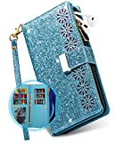 iPhone 7 Plus Wallet Case for Women,iPhone 8 Plus Case with Card Holder,Vodico Flip Folio Glitter Sparkly Bling Leather Folding 9 Card Purse Zipper Pocket Full Body Shockproof Cover with Strap (Blue)