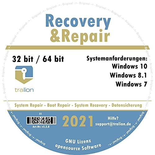 TRALION Recovry&Repair 2021 - CD/DVD für Windows XP, Windows Vista, Windows 7, Windows 8.1, Windows 10 - System Rettung, Notfall DVD - 32bit, 64bit - deutsch