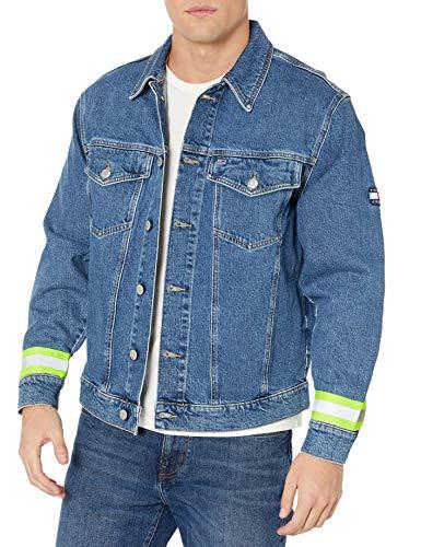Tommy Hilfiger Tommy Jeans Men's Oversized Denim Trucker Jacket, Kent Mid Blue Combo, X-Large