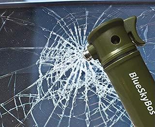 BlueSkyBos Army Green 6-in-1 Emergency Tool Auto Car Safety Escape Hammer Seat Belt Cutter Flashing Beacon Alarm Siren LED Flashlight