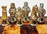 Metal Medieval Times Crusades Knight Busts Chess Men Set Gold and Silver Color Plating - NO Board