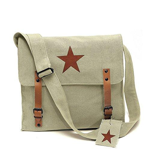 Rothco Khaki Vintage Army Medic Shoulder Messenger Bag w/Brown Star Emblem