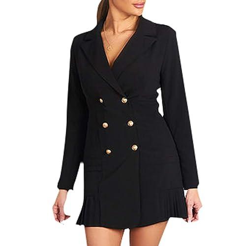 71405370b9158 Simplee Women's Elegant Double Breasted Blazer Dress Slim Fit Ruffle Office  Dress Mini Dress