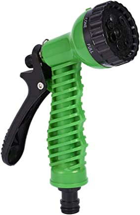 HOKIPO Plastic 7 Pattern High Pressure Garden Hose Nozzle Water Spray Gun (Green)