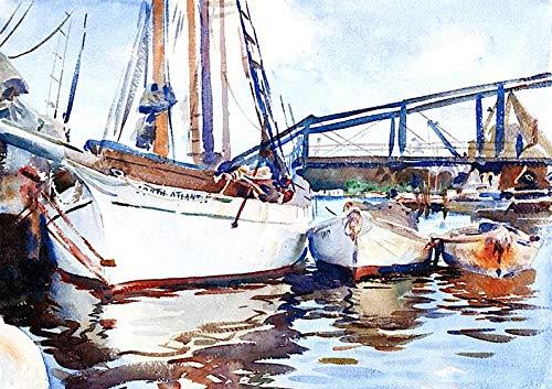DIY olieverfschilderij tekening met penselen verf, verf op nummer kit voor volwassenen Decoratie-boten bij Anker 40X50Cm/15.80X 19.70 Inch