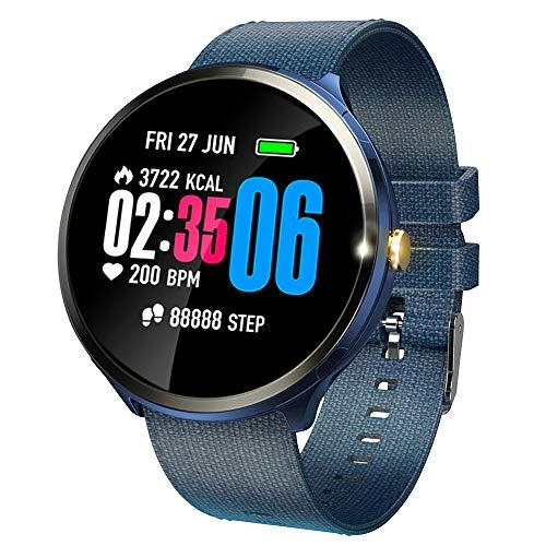 V12 Smartwatch mit farbigem Touch-Screen und Herzfrequenz-Sensor Leichte Fitness Uhr mit Push-Erinnerung SMS-Alert-Push, Bewegungsaufzeichnungen (Schritt, Kilometerstand), Schlafüberwachung (Blau)