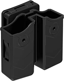 Universal Double Magazine Pouch, 9mm.40 Double Stack Mag. Holder Dual Stack Mag Holster with 1.5''-2'' Belt Clip Fit Glock Sig sauer S&W Beretta Browning Taurus H&K Most Pistol Mag 60° Adjustable Cant