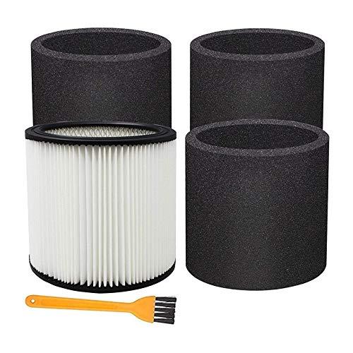 JVSISM Filtro de Cartucho de Repuesto para Shop Vac 90304, Shop Vac Accesorios para la MayoríA de Las Aspiradoras en Seco/HúMedo (1 + 3)