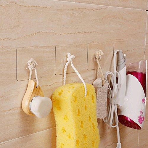 Hawsam Trasparente Adesivo Potente Gancio, Non Lascia Nessuna Traccia sulla Parete, Impermeabile per Cucina Bagno Porta Soffitto Appendiabiti (8pcs)