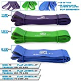 Pull up Bands - Set of 3, Heavy Duty Resistance Bands, Mobility Bands for Cross training, Exercise Bands for Gymnastics and Powerlifting Pull up Assist Bands (Bundle #3 Purple & #4 Green & #5 Blue)