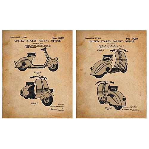 Vespa Patent Prints from 1949 2 Unframed 8 x 10 Prints - Travel Decor -Gift for Game Room, Office, Den, Business